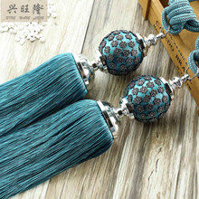XWL 1 Pair Curtain Hanging Belts Plum Flower Ball Window Curtain Accessories Strap Tassel Tieback Buckle Bandage Bind Home Decor