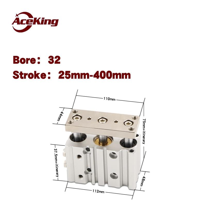Pneumatic three-axis three-bar cylinder with guide bar anti-rotation TCM/ mgpm32-10-20 *30/40-50-75-100-125-150-175-200-250-300ZPneumatic three-axis three-bar cylinder with guide bar anti-rotation TCM/ mgpm32-10-20 *30/40-50-75-100-125-150-175-200-250-300Z