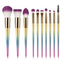 цена на 10pcs Diamond Makeup Brushes Set Unicorn Fantasy Powder Eyeshadow Brush Facial Foundation Cosmetic Pincel Maquiagem Beauty Kit