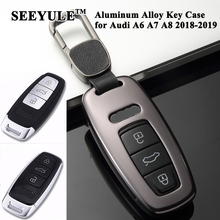 hot deal buy 1pc seeyule aluminum alloy car key case cover protector key shell storage styling car accessories for audi a6 c8 a7 a8 2018 2019