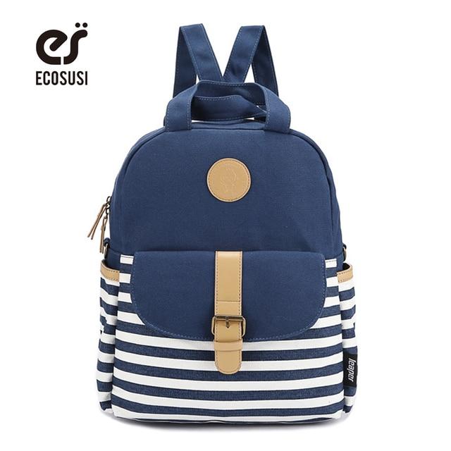 ce5cd2e1eeca ECOSUSI Vintage Women Canvas Backpacks For Teenage Girls School Bags Casual  Mochilas Escolares New Fashion Men