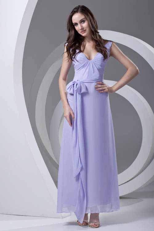 Elegant Lavender Bow Tie Bridesmaid Dresses with Sashes V Back Chiffon Wedding Guest Dress Robe Demoiselle D'honneur