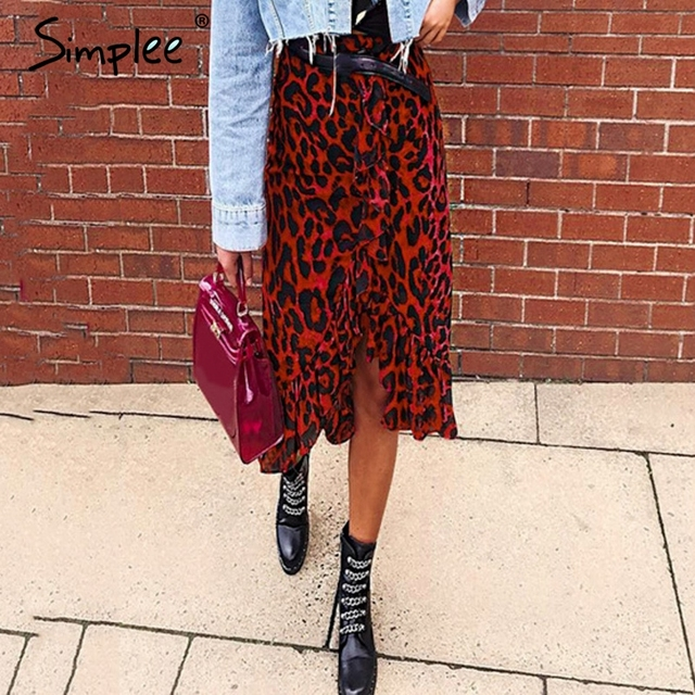 Simplee סקסי נמר midi עיפרון חצאית נשים סתיו גבוהה מותן לפרוע אדום ילדה חצאיות 2018 בציר נשי קוריאני חורף חצאית