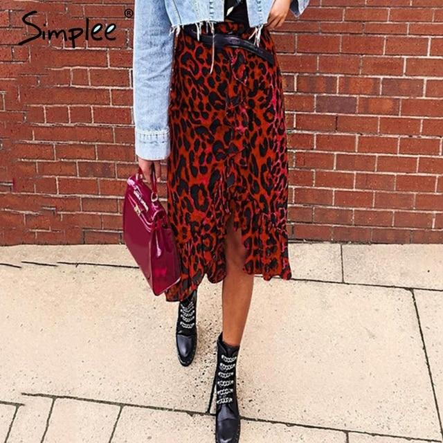 Женская красная леопардовая юбка карандаш Simplee, привлекательная юбка с завышенной талией и рюшами для девочек, винтажная корейская миди юбка для осени и зимы