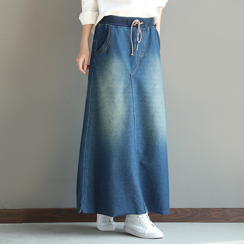 0cc71f187 US $26.77 39% OFF|Aliexpress.com : Buy 2018 New Arrival Womens Maxi Skirt  High Elastic Waist Vintage Autumn Denim Skirts Ladies Bleached Long Skirt  ...