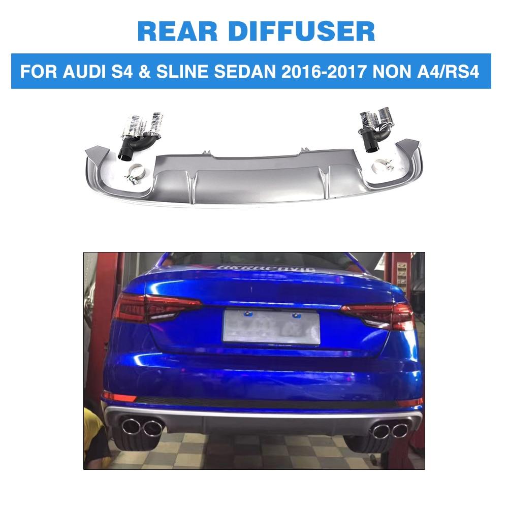 PP Car Rear Bumper Diffuser Lip With Exhaust Muffler For Audi S4 Sline Sedan 4 Door Non A4 RS4 2016-2017
