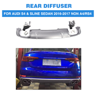 PP Car Rear Bumper Diffuser Lip With Exhaust Muffler For Audi S4 Sline Sedan 4 Door Non A4 RS4 2017 2018 2019