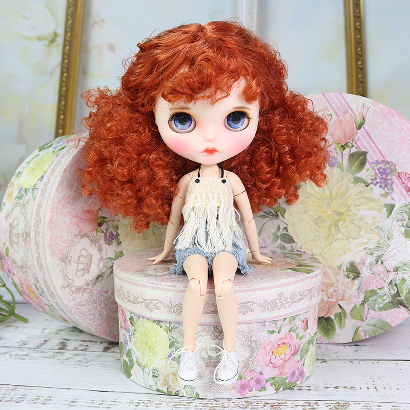 ICY factory blyth doll 1 6 bjd white skin joint body Afro red brown hair new