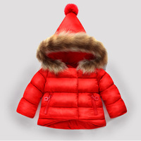 2018 Winter Kids Snowsuit Baby Girls Winter Coat Jacket Infant Children Clothing Fur Collar Hooded Thick Jackets 18M 8T