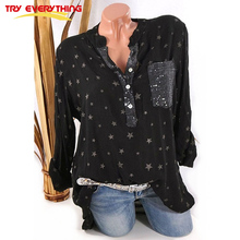 TryEverything Pockets Black Long Sleeve Blouse Women Summer 2019 Sequin Button Ladies Shirts And Tops V Neck Shirt Plus Size 5XL v neckline sequin blouse