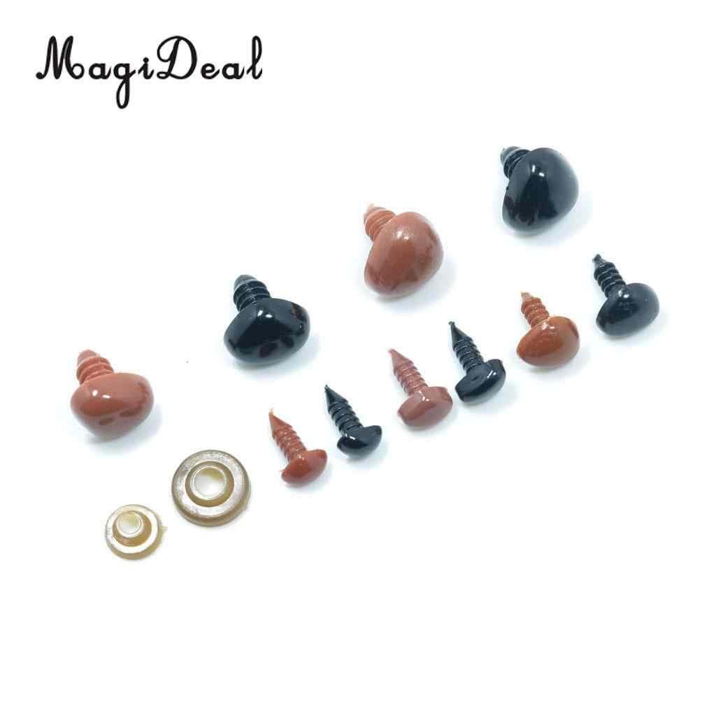100 peças de plástico nariz segurança olhos para urso boneca brinquedo diy artesanato marrom e preto