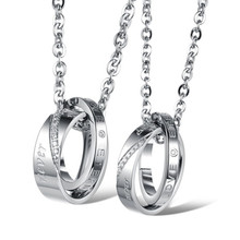 Fashion CZ Jewelry Womens Mens Stainless Steel Eternal Love Change Nover Double Engraved Pendant Couples Necklace