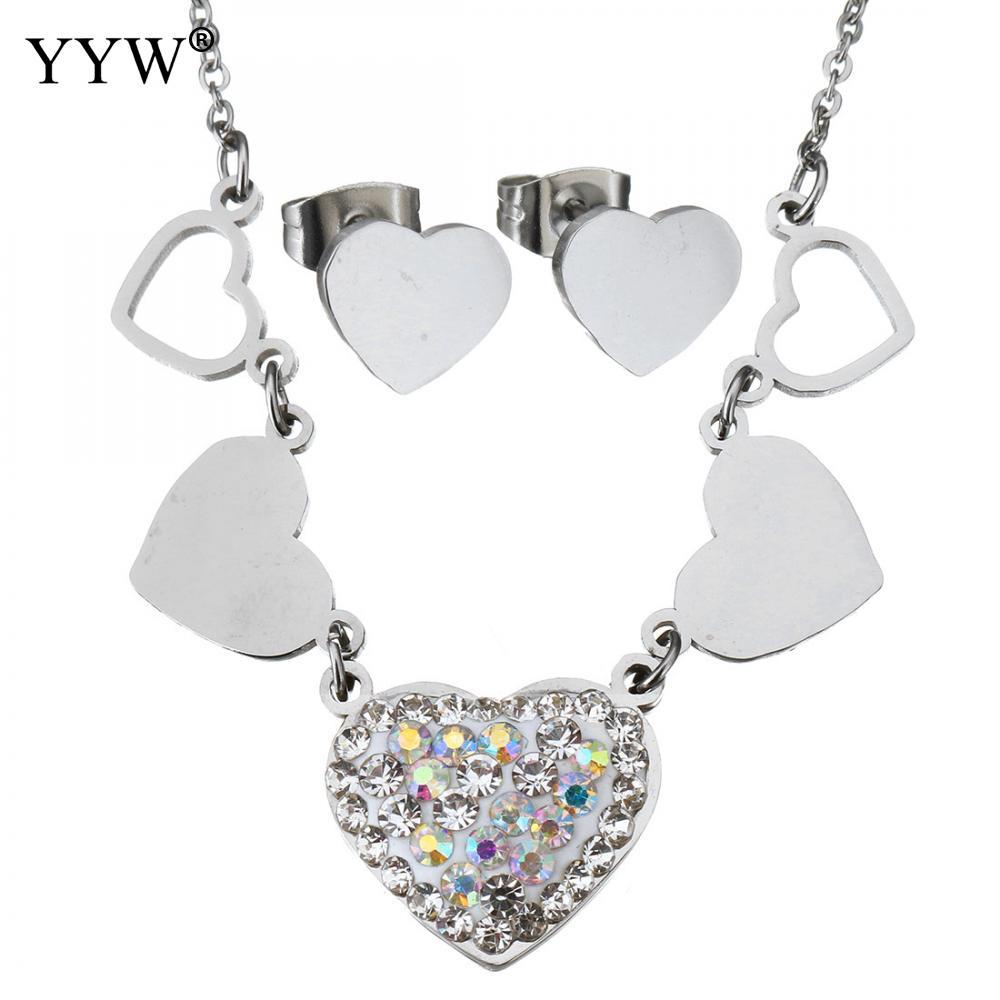 Rhinestone Stainless Steel Jewelry Set Rhinestone Heart Stud Earring