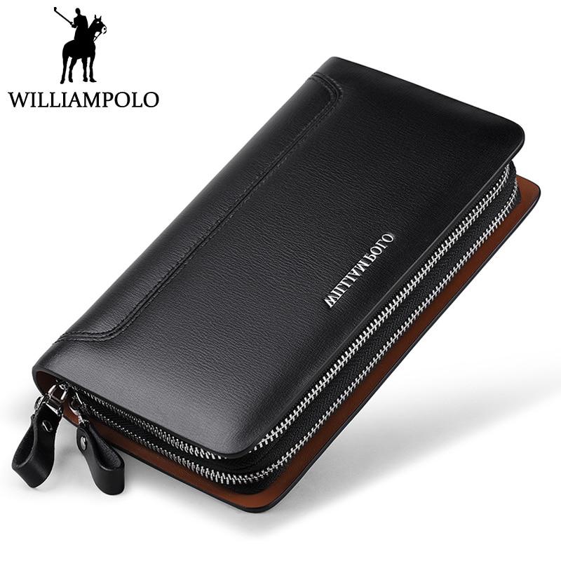 WILLIAMPOLO 2018 Genuine font b Leather b font Clutch Bag For Men Double Zipper Design Handy