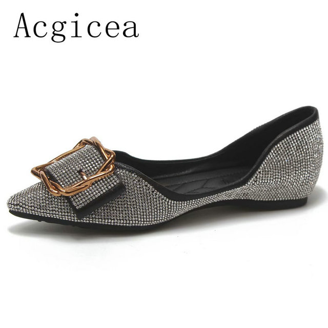 2018 New Autumn Bling Women Flat Shoes Western Style Shoes Woman Fashion  Comfortable Formal Dress Pants a5546ae543db