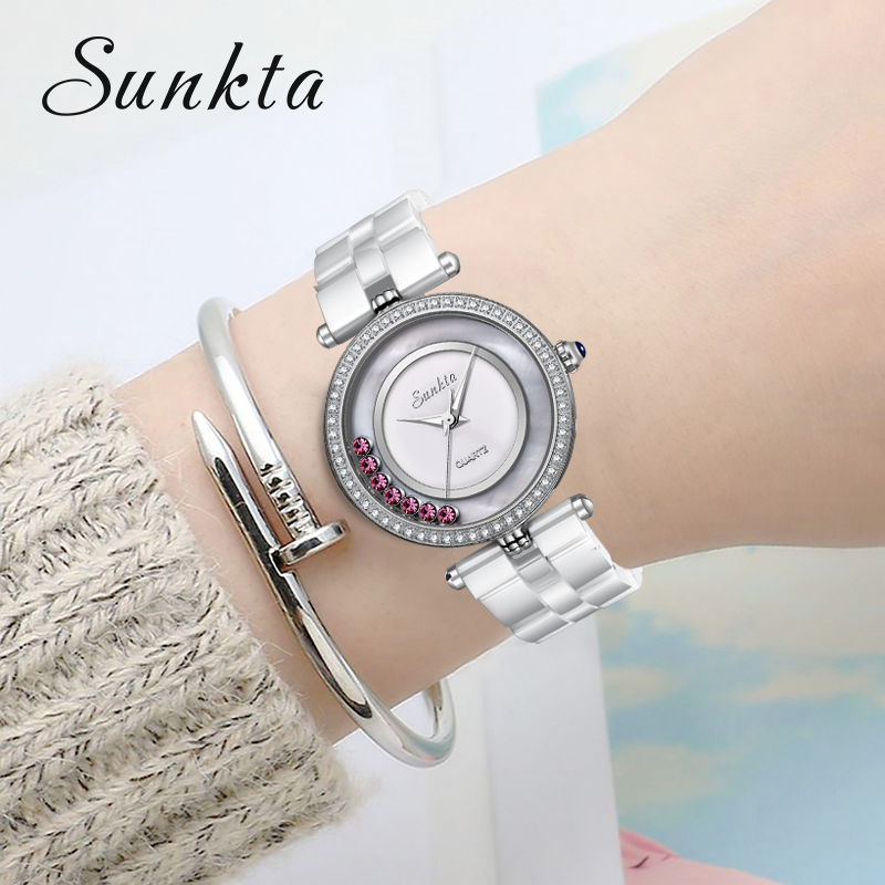 SUNKTA Top Brand Luxury Diamond Watch Ceramic Quartz Women Watches Waterproof Mother of pearl Surface Watch Women Zegarek Damski in Women 39 s Watches from Watches