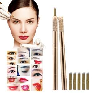 Image 3 - Golden Tebori 3D Tattoo Pen + 5 Pcs 12 Pins Microblading รอยสักเข็มแต่งหน้าถาวร Eyebrow Tattoo Professional ชุด
