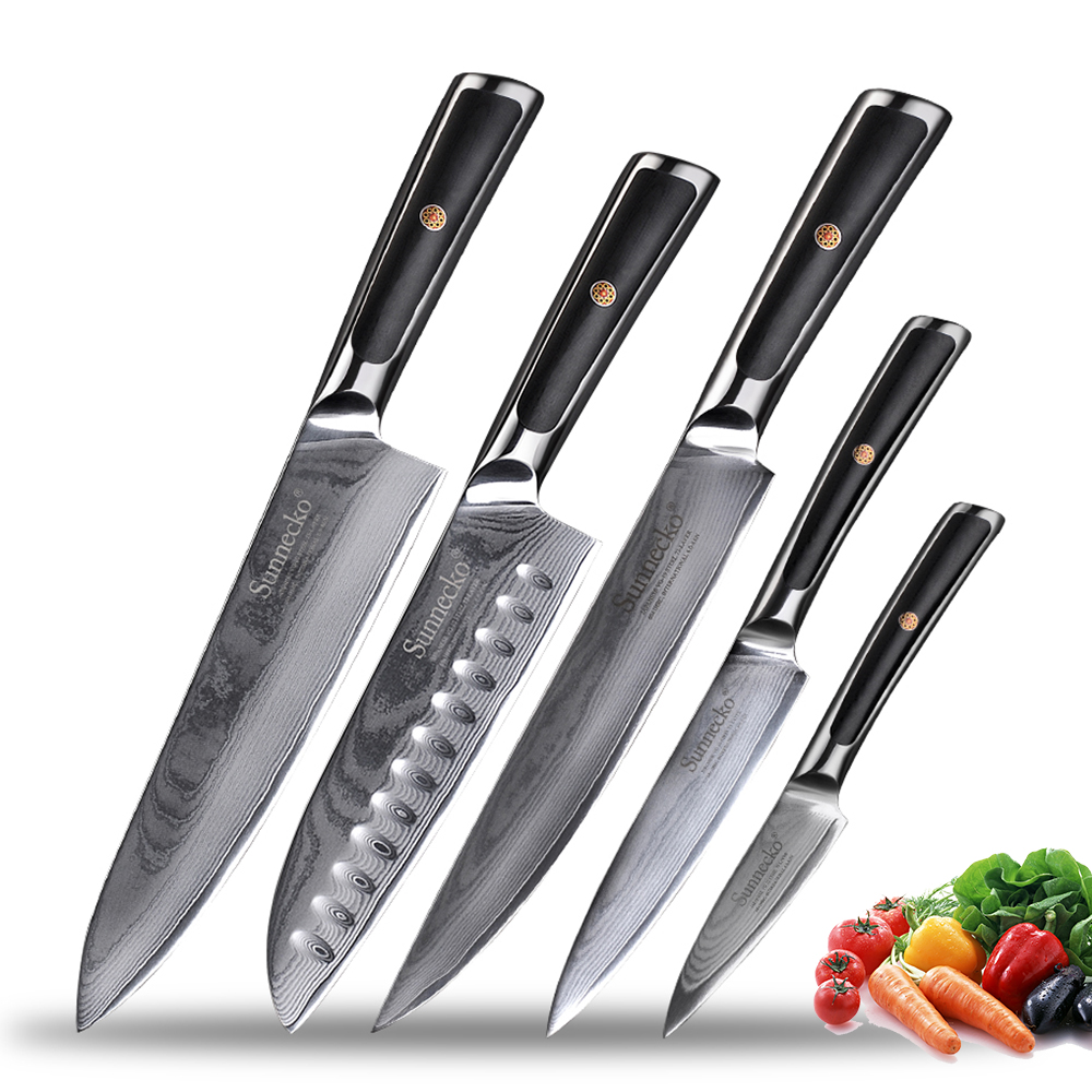 Sunnecko Damascus Steel Kitchen Knives Set Japanese VG10 Razor Sharp Chef's Slicing Utility Paring Bread Santoku Knife Gift Box