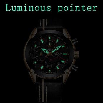 Lige Fashion Design Leather Date Chronograph Men Quartz Watches 2