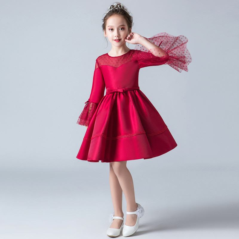 a3f20e9f2d8d6 2019 Kids Girls Princess Pageant Wedding Party Dress Teenage Girls Wave  Point Gauze Dress Children Bowknot