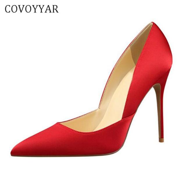 0e2deae5ee66 COVOYYAR Women High Heels 11cm Pointed Toe Stilettos Sexy Silk Lady Thin Heel  Pumps Elegant Party Dress Shoes Woman WHH141