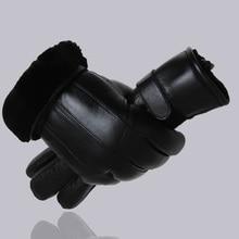 MPPM Hot Sale Men sheepskin gloves genuine leather glove for men winter Outdoor warm fur thickening thermal patchwork gloves