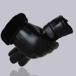 Image 1 - MPPM Hot Sale Men sheepskin gloves genuine leather glove for men winter Outdoor warm fur thickening thermal patchwork gloves