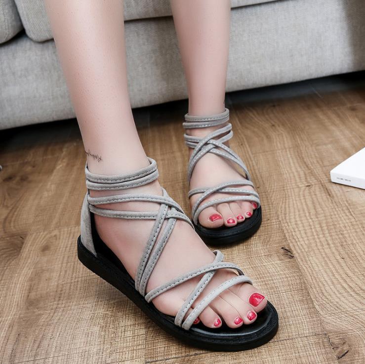 Noir Sandales Chaussures Dames gris Bout Casual Ouvert Sangle Slip À De Étudiants 2018 D'été Plage Femmes wxgrwza6qA