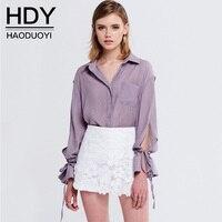 HDY Blouse Womens Long Sleeve Purple Blouses Womens Sexy Chiffon Blouse Shirt Women Ruffles Chiffon Blouse Sheer Casual Solid