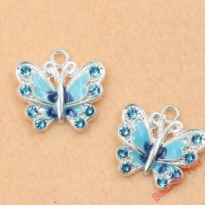 Image 5 - Mixed Silver Plated Enamel Crystal Butterfly Charms Pendants For Jewelry Making Diy Handmade 50pcs