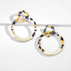 Fashion Colorful Leopard Acrylic Dangle Earring for Women Gold Alloy Round Geometry Resin Statement Hanging Earring