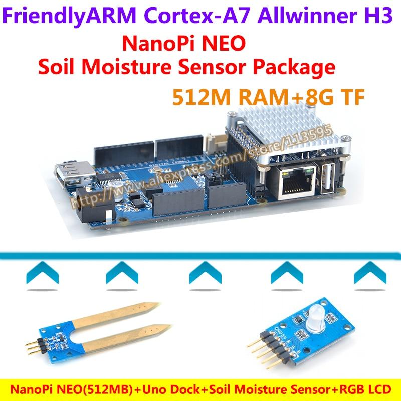 NanoPi NEO 512M Uno Dock Heat sink Soil Moisture Sensor RGB LCD Module NanoPi NEO Soil