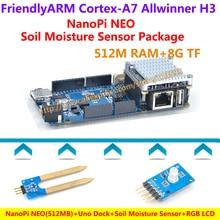 NanoPi NEO(512M) + Uno Dock + Heat sink + Soil Moisture Sensor + RGB LCD Module =NanoPi NEO Soil Moisture Sensor Package