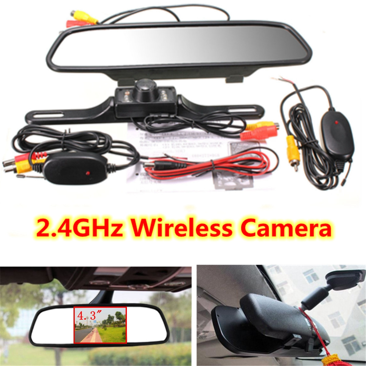 Wireless Reverse Car Rear View Camera 4.3 TFT Rearview Mirror Monitor HD Video Parking LED Night Vision CCD Backup Cameras Kit