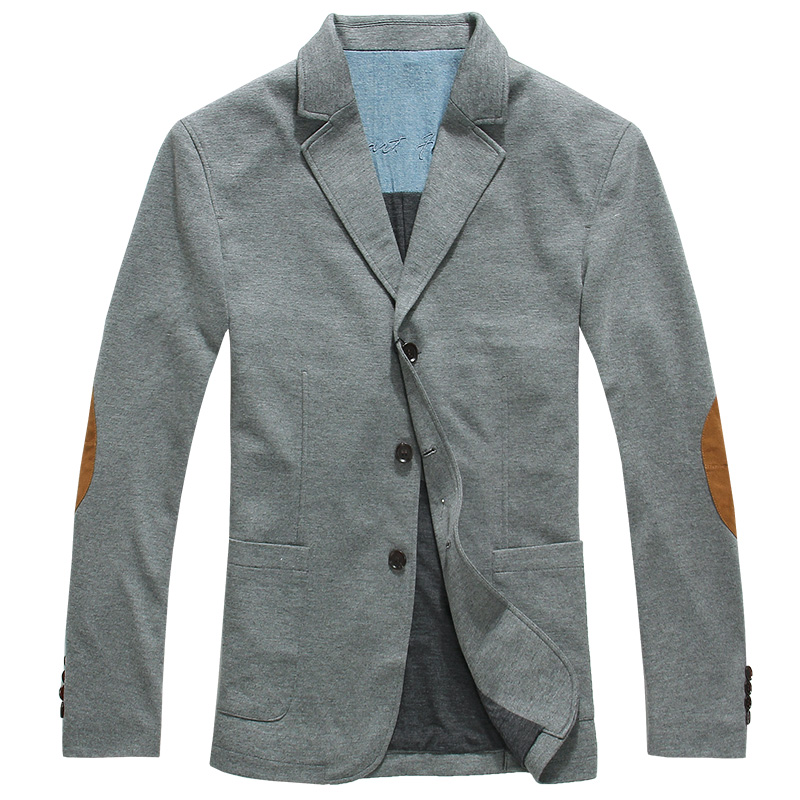 Lesmart Business Casual Fashion Informal Elbow Patch Splice Slim Fit Suit Ventilate Easy-care Leisure Outerwear Work Blazers