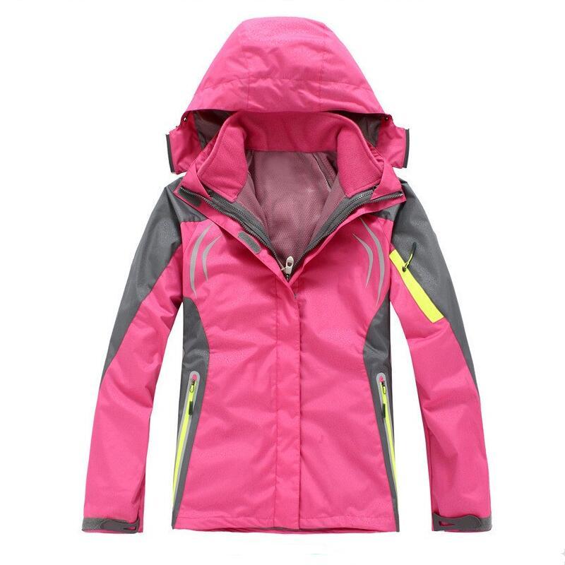 2018 new Women hiking Clothing Outdoor Sport Windbreaker Winter Ski Tech Fleece Softshell Wateroproof Jacket 3in1 size s-4xl