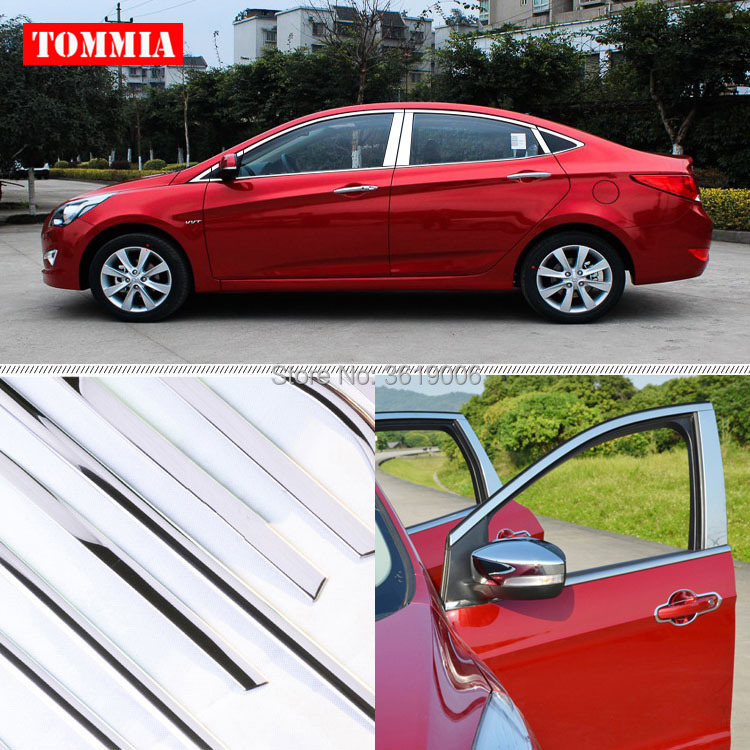 TOMMIA Full Window Middle Pillar Molding Sill Trim Chromium Styling Strips Stainless Steel For Hyundai Verna 2010-2016