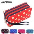New Portable Women Makeup Bag Polka Dot Double Layer Purse Storage Organizer Box Beauty Case Travel Pouch Zebra