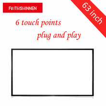 6 touch points 63 inch usb touch screen panel overlay kit frame