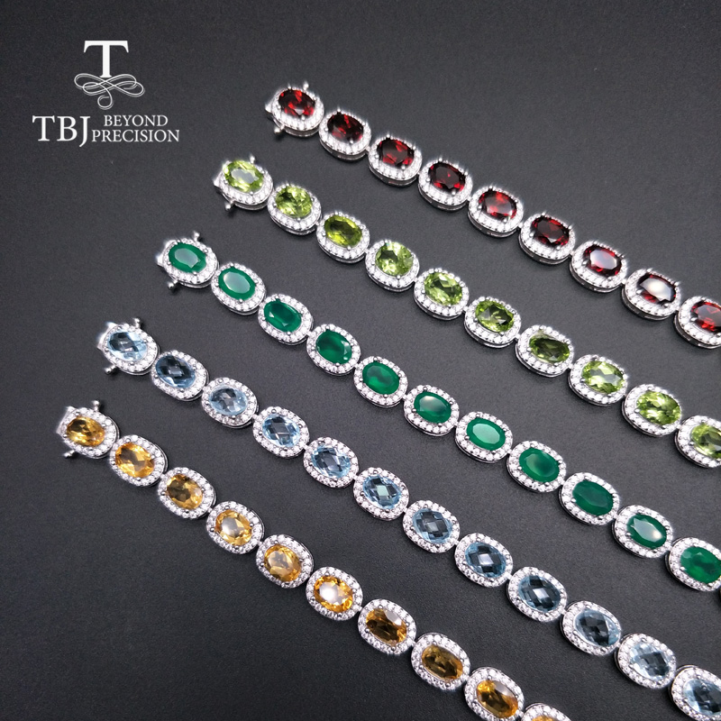 TBJ natural citrine topaz green agate peridot garnet gemstone bracelet in 925 sterling silver jewelry for