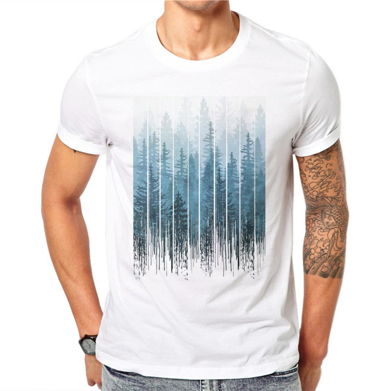 100% Cotton Mist Forest Men 3D Print   T     Shirt   Summer Creative Design Casual Tees Tops Male Short Sleeve   T  -  shirt   Plus Size 4XL