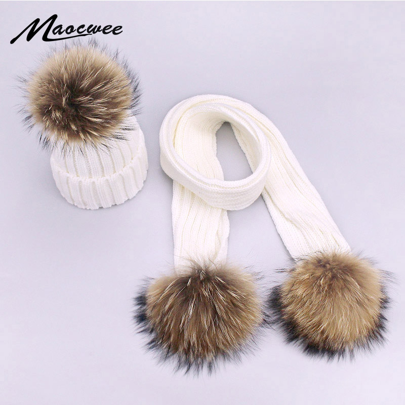Soild Color White Black Hat Cap For Women Children Scarf Hat Set With Fur Pompon Winter Children Adult Real Fur Pom Pom Caps New