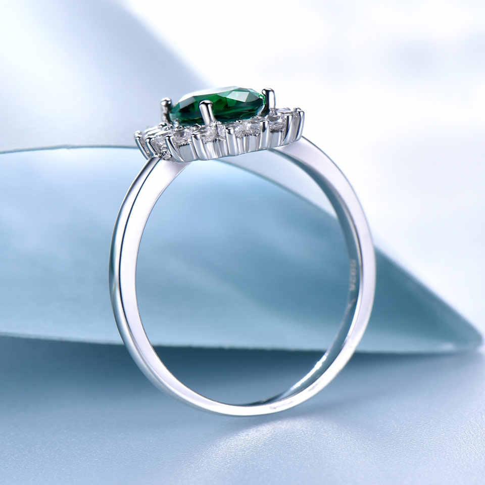 UMCHO อัญมณีมรกตแหวน Princess Diana แหวน 925 เงินสเตอร์ลิง Vintage หมั้นพรรคเครื่องประดับของขวัญ Fine