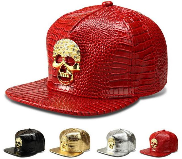 2016 USA Rhinestone Skull Pattern PU Snapback Cap Adult Silver Red Golden Metal Logo Leather Casual Fashion Hiphop Baseball Hat