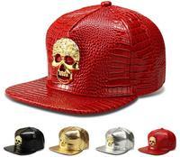 2016 USA Rhinestone Skull Pattern PU Snapback Cap Adult Silver Red Golden Metal Logo Leather Casual
