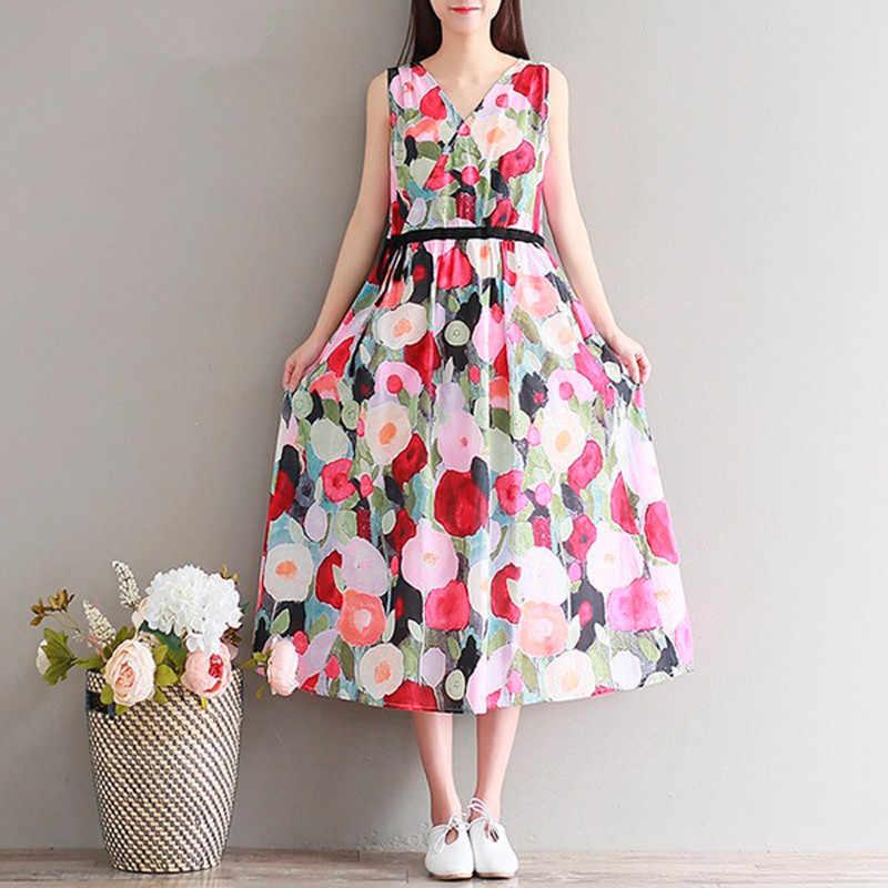 9b32f221fa Clobee Women Summer Dress Cotton A Line Flower Print Dress Sleeveless mori  girl Dresses High Waist