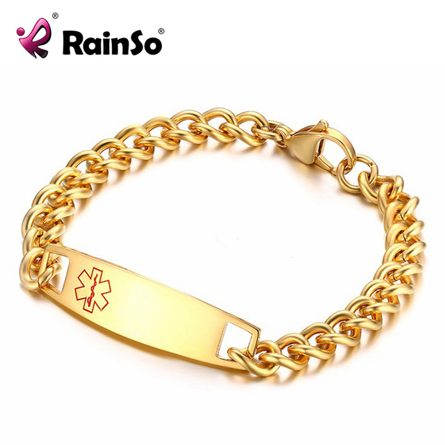 Rainso Stainless Steel Id Bracelet Gold Alert Bracelets For Men Women Free Customize Name