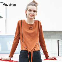 Фотография MOJONOO Basic Loose t shirt Women Long Sleeve Cotton High Quality Harajuku Tshirt Korean Style 2018 Spring Knitted Shirt Japanes