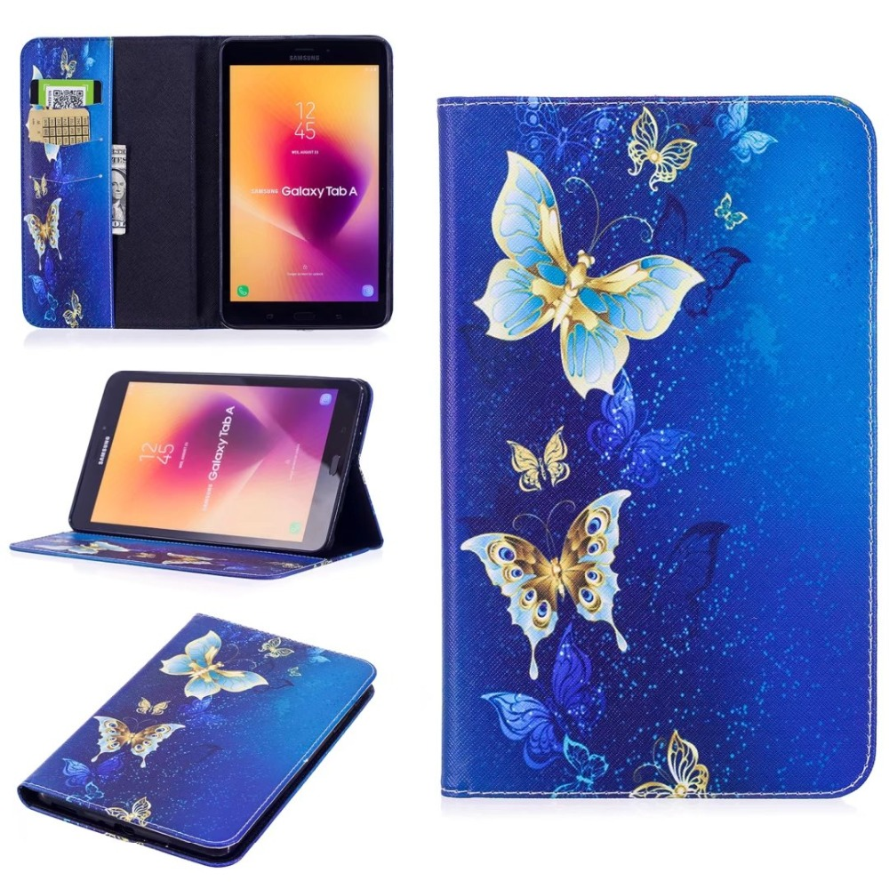 Print Leather Cover For Samsung Galaxy Tab A 8.0 2017 T380 T385 Flower Owl Butterfly 3D Wallet Stand Card Slots Tablet Case