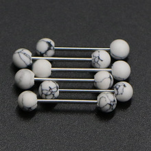 1PC White pine stainless steel tongue ring industrial barbell earrings auger body jewelry
